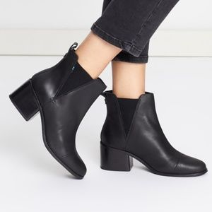 NEW - TOMS Black Leather Esme Boots - Black